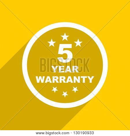 yellow flat design warranty guarantee 5 year web modern icon for mobile app and internet