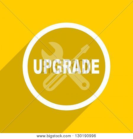 yellow flat design upgrade web modern icon for mobile app and internet