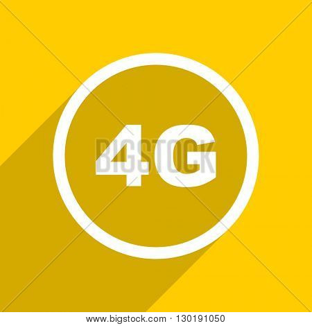 yellow flat design 4g web modern icon for mobile app and internet