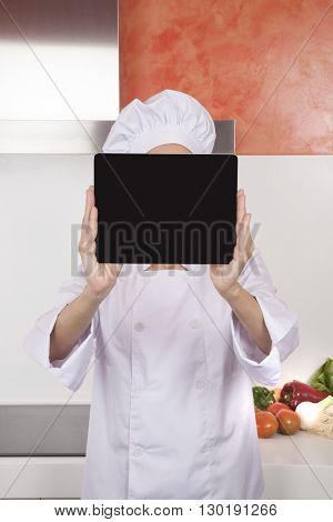 Screen Blank Tablet Over Chef Face