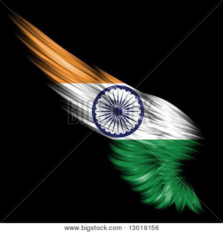 Abstract Wing With India Flag On Black Background