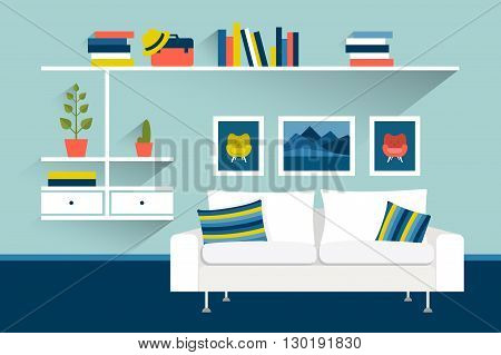 Living room with photo pictures and book shelves. Flat design vector illustration.