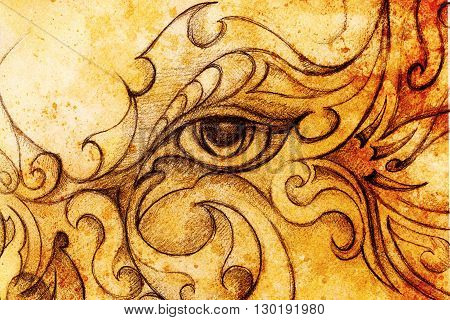 mystic woman eye with floral ornament. Drawing on paper, Color effect. Eye contact