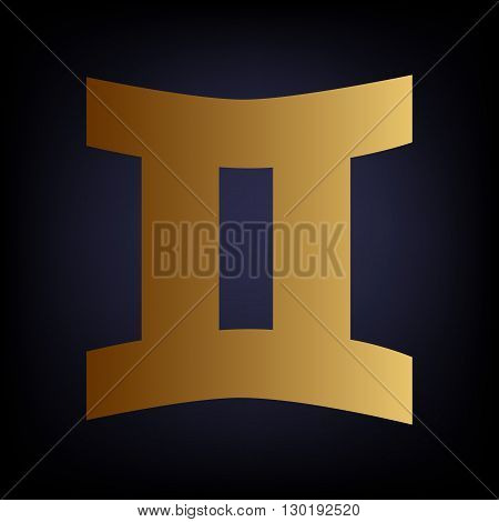 Gemini sign. Golden style icon on dark blue background.