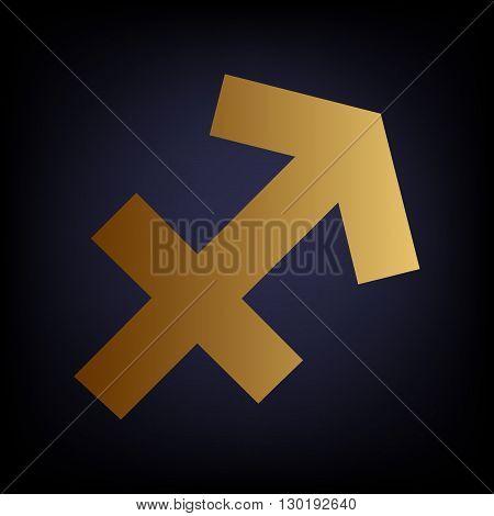 Sagittarius sign. Golden style icon on dark blue background.