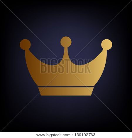King crown sign. Golden style icon on dark blue background.