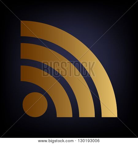 RSS sign. Golden style icon on dark blue background.