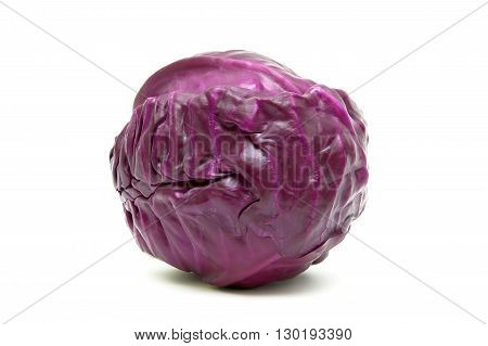 red cabbage closeup isolated on white background. horizontal photo.
