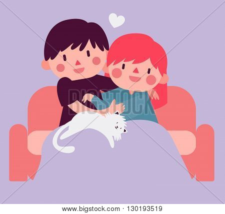 Vector illustration of a cartoon couple sitting on the sofa and hugging each other next to their pet cat.