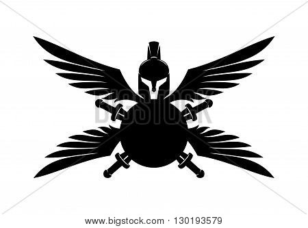 Vector sign Spartan helmet, shield, sword and wings.