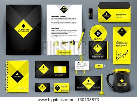 Professional  luxury universal branding design kit for jewelry shop, cafe, restaurant, hotel. Golden style with yellow. Premium corporate identity template. Business stationery mock-up with logo.