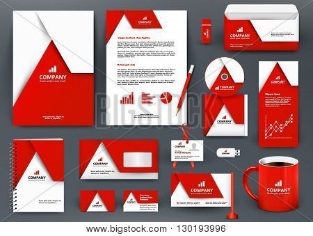 Professional universal red branding design kit with origami element. Corporate  identity template, business stationery mock-up for real estate company. Editable vector illustration: folder, mug, etc.