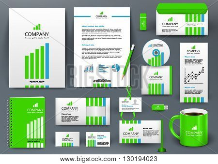 Professional universal branding design kit with green and blue lines. Corporate identity template, business stationery mock-up. Green and blue colors. Editable vector illustration: folder, cup, etc.