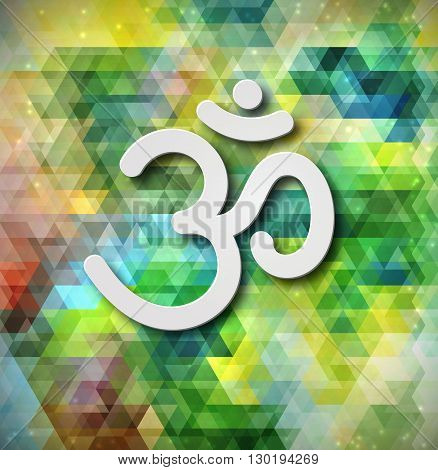 Sign Om vector. Hand drawn symbol of Buddhism and Hinduism religions