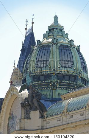 The Cupola of the Prague Municipal House close up