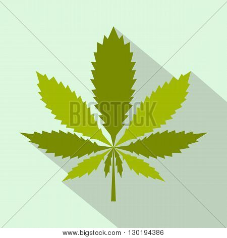 Marijuana leaf icon in flat style on a green background