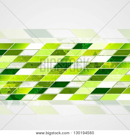 Abstract tech geometric background. Green color design