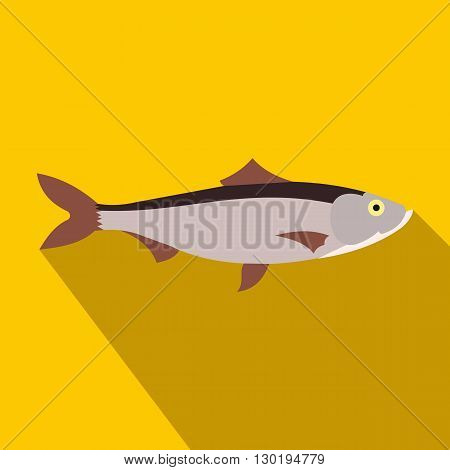 Fresh fish icon in flat style on a yellow background
