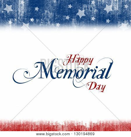 A header footer illustration with United States flag colors for Memorial Day