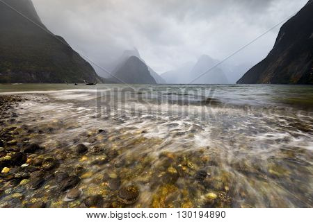 Raining evening at Milford Sound, New Zealand