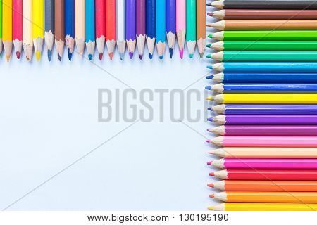 Colouring pencils in a large variety of colours