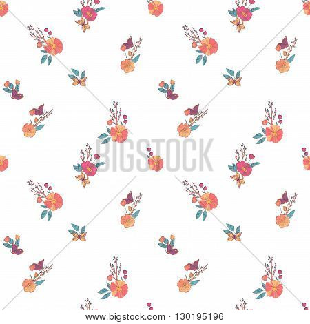 Floral Seamless Vintage Pattern With Wildflowers and Butterfly