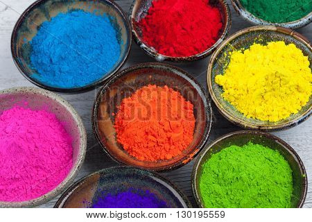 Ceramic Bowls With Holi Powder Closeup