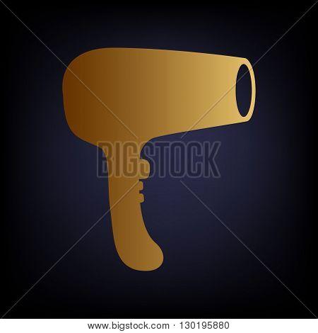 Hair Dryer sign. Golden style icon on dark blue background.