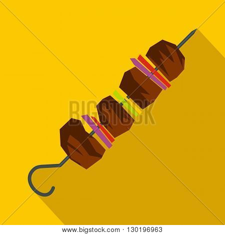 Barbecue kebab on skewers icon in flat style on a yellow background