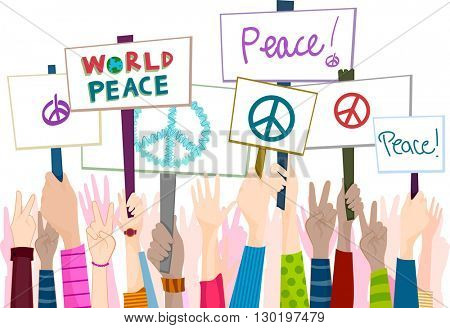 Illustration of People Rallying for Peace