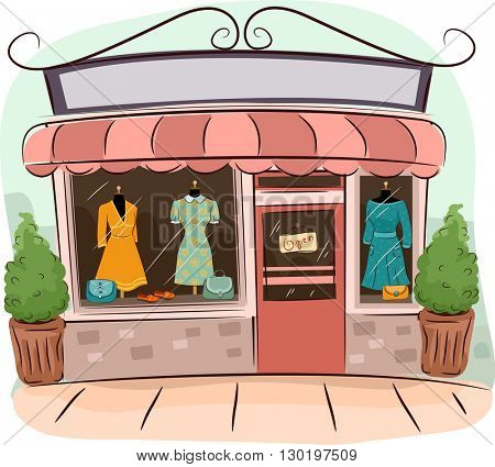 Illustration of Boutiques Selling Vintage Clothes
