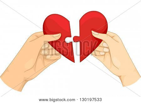 Illustration of a Couple Connecting the Pieces of a Heart