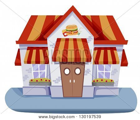 Illustration Featuring the Facade of a Fast Food Restaurant