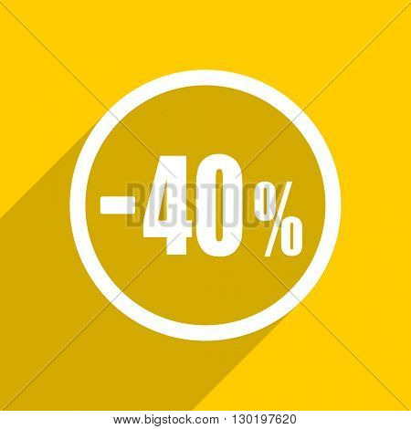 yellow flat design 40 percent sale retail web modern icon for mobile app and internet