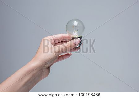 The female hand holding an incandescent light bulb on gray background