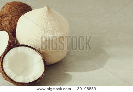 Food. Peeled coconut on the table