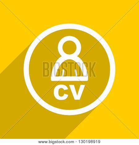 yellow flat design cv web modern icon for mobile app and internet