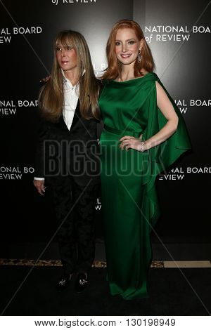 NEW YORK-JAN 5: NBR President Annie Schulhof (L) and actress Jessica Chastain attend the 2015 National Board of Review Gala at Cipriani 42nd Street on January 5, 2016 in New York City.