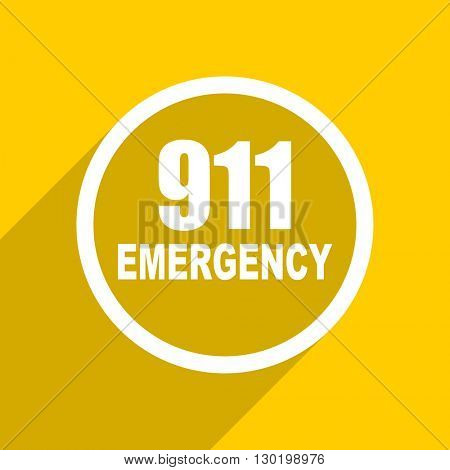 yellow flat design number emergency 911 web modern icon for mobile app and internet