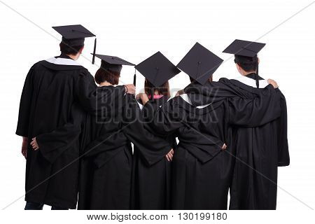 Group of graduate students back view isolated on white background