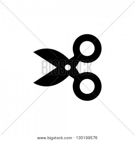 Cute scissors icon isolated on white