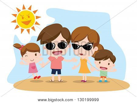 Vector Illustration:   Family illustration _ summer vacation