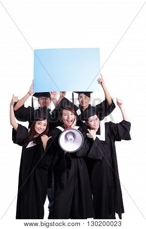 group of happy graduates student show blank billboard isolated on white background asian