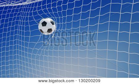 Shooting soccer ball in goal net in front of a blue sky (3D Rendering)