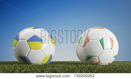 Ukraine vs. Ireland in soccer match during european championships (3D Rendering)