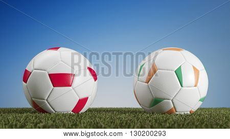 Poland vs. Ireland in soccer match during european championships (3D Rendering)