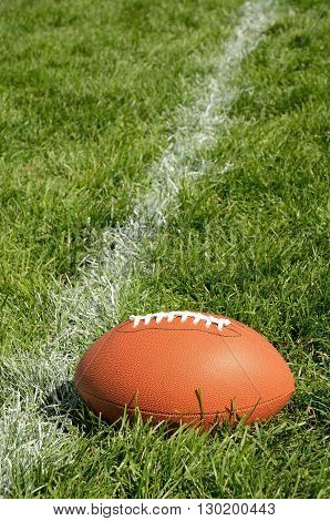 Football Near Yardline American Football on Natural Grass Turf