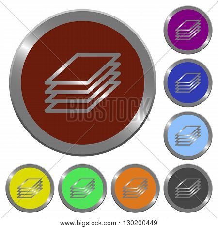 Set of color glossy coin-like printing papers buttons.