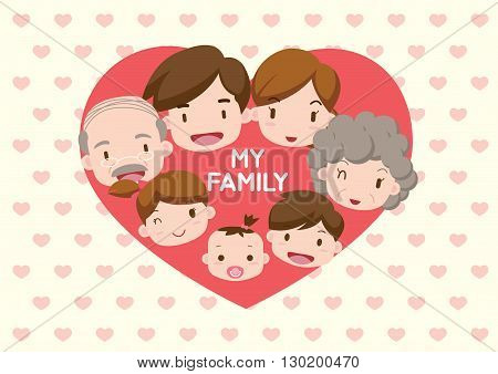 Vector Illustration: Family illustration _ heart in my family