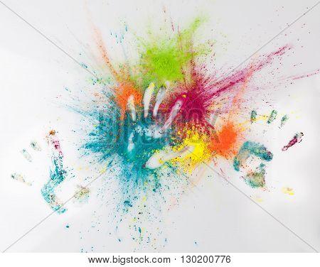 Hand Imprints In Holi Powder. Happy Holi Concept.